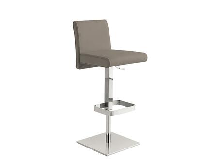 Vittoria Collection TC-2009-T-BAR Bar Stool with Chrome Metal Pedestal Base  Low Backrest  Modern Style  Adjustable Height  Footrest and Italian Leather