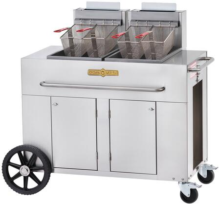 "CV-PF-2NG 53"""" Double Tank Outdoor Portable Fryer with 180 000 BTU/H  80 lbs. Capacity  Millivolt Thermostat Control  Four Fry Baskets and Heat Exchanger Tubes"" 537948"