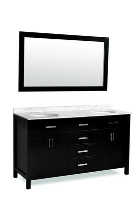 DM2D4-60BLK Belmont Decor Hampton double sink vanity with Marble Top  Block Feet  and Simple Pulls in
