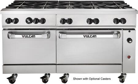 60SS-10BN  60 inch  Natural Gas Endurance Restaurant Range with 10 Open Top Burners  2 Standard Ovens  358 000 Total BTU  30 000 Burner BTU and 4 Oven Racks in