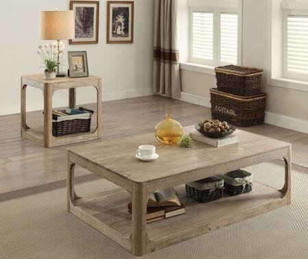 Zania Collection 82235CE 2 PC Living Room Table Set with Rectangular Shaped Coffee Table and Square Shaped End Table in Natural Oak