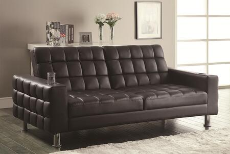 300294 Sofa Beds Collection Adjustable Sofa Bed with Cup Holders  Dark Brown Vinyl Upholstery and Chrome Legs in Silver