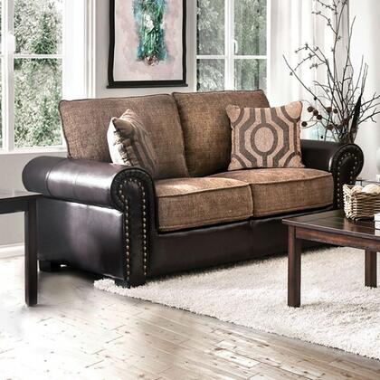 Ceuta CM6522-LV Loveseat with Rolled Arms  Nail Head Accents  Chenille Fabric and Leatherette Upholstery in Brown and