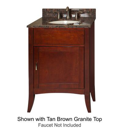 Metro Collection 385-2400-AB 24 inch  Sink Vanity with Flared Legs  1 Door  Brushed Nickel Hardware and Water Resistant Brown Cherry Finish with Black Granite