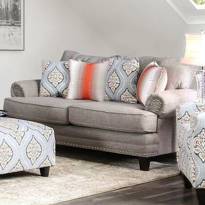 Tallulah SM8130-LV Loveseat with Solid Wood Tapered Legs  Nail Head Accents and Woven Fabric Upholstery in