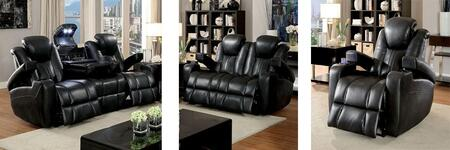 Zaurak Collection CM6291-SLR 3-Piece Living Room Set with Motion Sofa  Motion Loveseat and Recliner in Dark