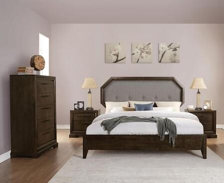 Selma Collection 24084CK4SET 4 PC Bedroom Set with California King Size Bed  Chest and 2 Nightstands in Tobacco