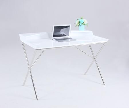 6935-DSK Modern Wood Desk with Chrome Legs in High Gloss White and