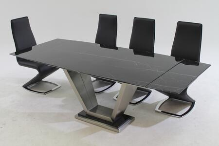 JESSY-TARA-BLK JESSY DINING Jessy/Tara 5Pc - Black Marquis Solid Marble Dining Table with 4 Black PU