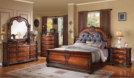 22310Q4PCSET Nathaneal Queen Size Bed + Dresser + Mirror + Nightstand with Decorative Carving Style  Black PU Button Tufted Like Headboard  Wood Veneers and