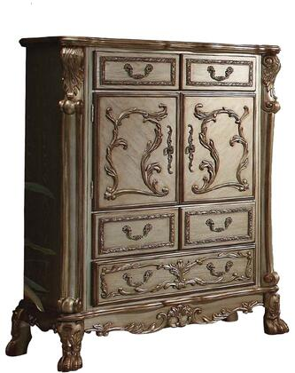 Dresden 23166 43 inch  Chest with 5 Drawers  2 Doors  Interior Shelf  Carved Wood Elements  Antique Brass Hardware  Ball and Claw Feet in Gold Patina