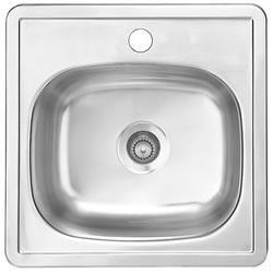 S1515/65K/12 15 inch  Top Mount Single Bar Bowl Stainless Steel Sink with Silk Finish  20-Gauge and Accepts 2 inch  Drain Fitting  1 Faucet