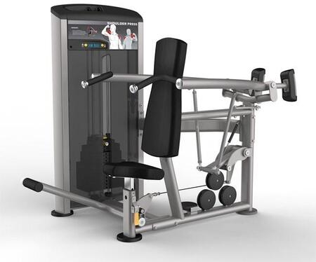 E-4984 Platinum Series 9512 Shoulder Press Machine with 200 lbs. Incremental Weight Stack  Military Grade Cables and High-Tech Oval Tubing in Black and