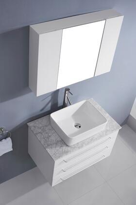 UM-3057-WM-WH-001 Modern 32 Single Sink Bathroom Vanity Set White w/Brushed Nickel