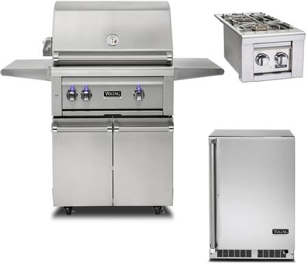 "3-Piece Stainless Steel Outdoor Kitchen Package with VQGFS5300LSS 56"""" Freestanding Liquid Propane Grill and Cart  VQGSB5130LSS 13"""" Side Burner  and"" 896197"