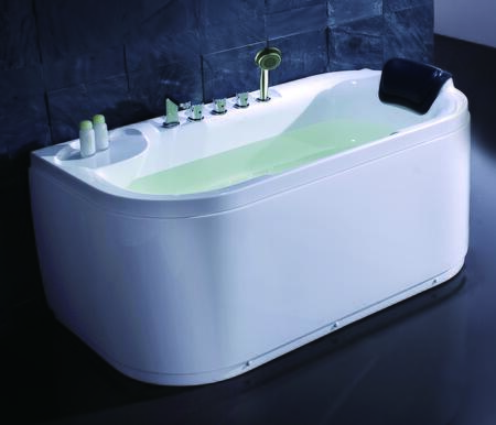 LK1103-L Acrylic 5' Soaking Tub with Fixtures  1 Person Capacity  Tub Filter  Hand Held Shower and  Head Rest in