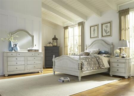 Harbor View III Collection 731-BR-KPSDMN 4-Piece Bedroom Set with King Poster Bed  Dresser  Mirror and Night Stand in Dove Gray