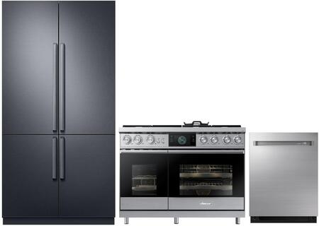 3-Piece Stainless Steel Kitchen Package with DRF427500AP 42 inch  French Door Refrigerator  DOP48M96DPS 48 inch  Freestanding Gas Range  and  DDW24M999US 24 inch  Fully