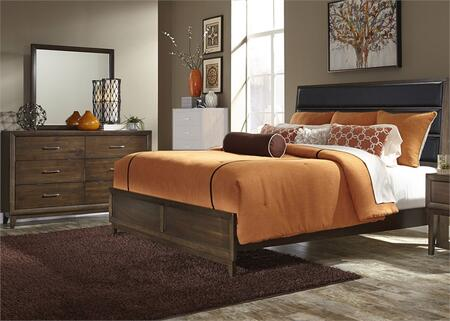 Hudson Square Collection 365-BR-KUBDM 3-Piece Bedroom Set with King Upholstered Bed  Dresser and Mirror in Espresso
