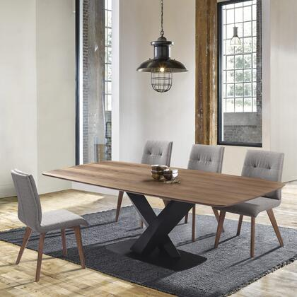 SETERDINBGA Noble Mid-Century Walnut Wood 5 Piece Dining Set with Table and 4 Side