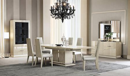 Chiara Collection 18754DT6CBMV 10-Piece Dining Room Set with Dining Table  6 Chairs  Buffet  Mirror and Vitrine in Light