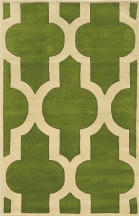 VOLVO825600300508 Volare VO8256-5' x 8' Hand-Tufted 100% Wool Rug in Green  Rectangle