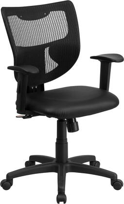 WL-F061SYG-LEA-A-GG Galaxy Mid-Back Designer Back Task Chair with Adjustable Height Arms and Padded Leather