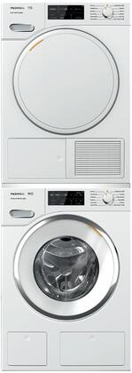 White Stacked Front Load Laundry Pair with WWH660WCS 24 inch  Front Load Washer  TWF160WP 24 inch  Electric Dryer  and WTV502 Stacking