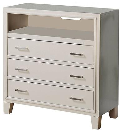 Tyler Collection 22547 36 inch  TV Console with 3 Drawers  Open Compartment  Brushed Nickel Metal Hardware  Tapered Legs  Solid Rubberwood and Gum Veneer Materials