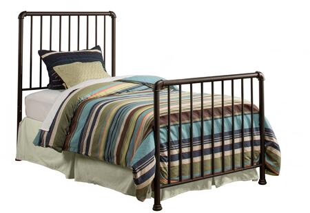 Brandi Collection 2099BTWR Twin Size Bed with Headboard  Footboard  Rails  Open-Frame Panel Design and Sturdy Metal Construction in Oiled