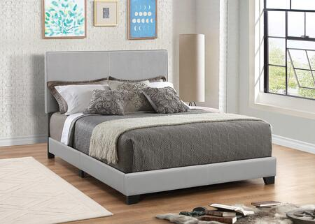 Dorian Collection 300763KE King Size Panel Bed with Faux Leather Upholstery  Clean Line Design  Solid Wood Legs  Tall Headboard and Low Profile Footboard in