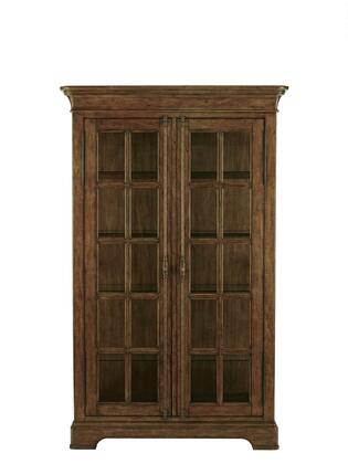 8854140 80 inch  High American Attitude Door China with Two Glass Doors  Four Adjustable Glass Shelves  Distressed Detailing and Simple Pulls in