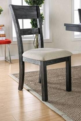 Thomaston I Collection CM3543SC-2PK Set of 2 Transitional Style Side Chair with Slat Back and Padded Fabric Seat Cushion in Brushed