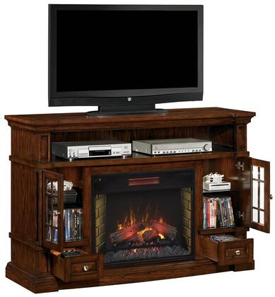 28MM6240-O128 Belmont Infrared Electric Fireplace Media Cabinet with Drawers Side Cabinets Adjustable Glass Shelves and Glass Panel Doors in Caramel Oak