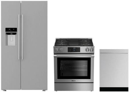 3-Piece Kitchen Package with BSBS2230SS 36 inch  Side by Side Refrigerator  BGR30420SS 30 inch  Slide In Gas Range  and a free DWT58500SSWS 24 inch  Built In Fully Integrated