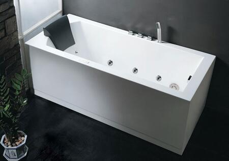 AM154-5-R 5' Right Drain Rectangular Corner Whirlpool Bath Tub with Fixtures  Touch Screen Control Panel  6 Types of Massage Modes: