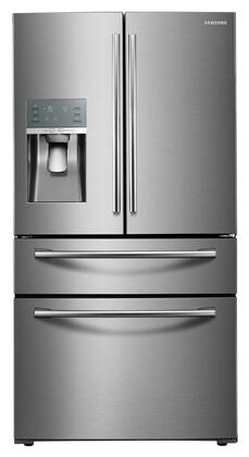 "RF28JBEDBSR 36"" Energy Star Rated Food Showcase French Door Refrigerator with 27.8 cu. ft. Capacity  Metal Cooling  External Ice and Water Dispenser and Twin"