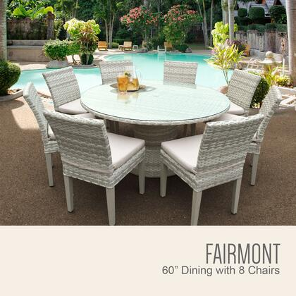 Fairmont-60-kit-8c Fairmont 60 Inch Outdoor Patio Dining Table With 8 Armless Chairs With 1 Cover In