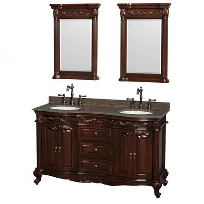 WCJJ23360DCHIBUNOM24 60 in. Double Bathroom Vanity in Cherry  Imperial Brown Granite Countertop  Undermount Oval Sinks  and 24 in.