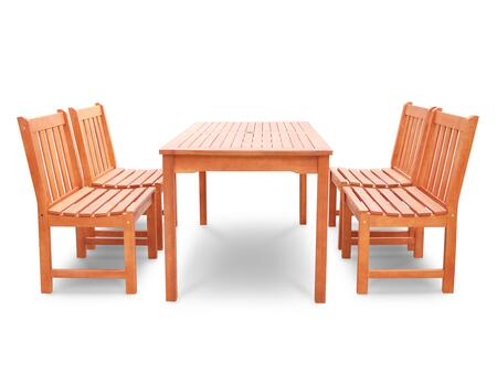 V98SET46 Malibu Eco-friendly 5-piece Outdoor Hardwood Dining Set with Rectangle Table and Armless