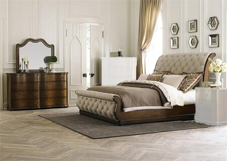 Cotswold Collection 545-BR-KSLDM 3-Piece Bedroom Set with King Sleigh Bed  Dresser and Mirror in Cinnamon