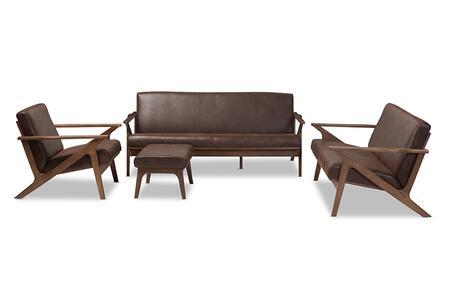 Baxton Studio Bianca BIANCA-DARK BROWN/WALNUT BROWN-4PC-SET 4-Piece Living Room Set with Sofa  Loveseat  Chair and Ottoman in Dark