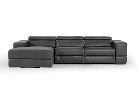 Divani Casa Hilgard Collection VGKM-KM.127H-DKGRY 125 inch  2-Piece Leather Reclining Sectional Sofa with Left Arm Facing Chaise and Right Arm Facing Sofa in Dark