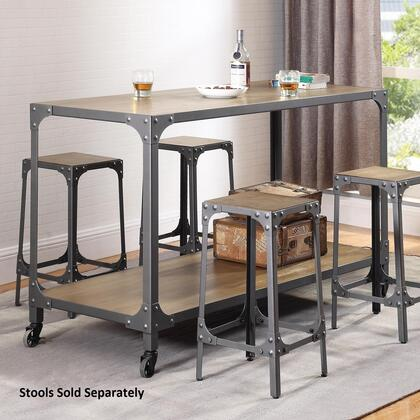 Kitchen Carts Collection 102998 36 Kitchen Island With Bottom Shelves  Casters  Metal Rivets  Wood And Metal Construction In Rustic Light Brown And Gunmetal