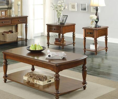 Faris 80915CES 3 Pc Living Room Table Set with Coffee Table + End Table + Side Table in Light Walnut