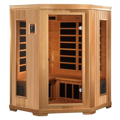 GDI-3356-01 77 inch  Low EMF Far Infrared Corner Sauna with 3 Person Capacity  10 Carbon Heating Elements  Tempered Glass Door and Chromotherapy