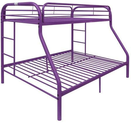 Tritan Collection 02043PU Twin Over Full Size Bed with Built-in Side Ladders  Full Length Guardrail  Slat System Included and Metal Construction in Purple