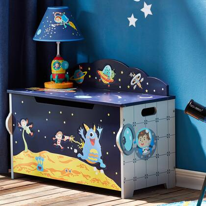 TD12219A Outer Space Hand Crafted Kids Wooden Toy Chest with Safety