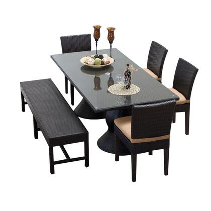 NAPA-RECTANGLE-KIT-4C1B-C-WHEAT Napa Rectangular Outdoor Patio Dining Table With 4 Chairs and 1 Bench with 2 Covers: Wheat and