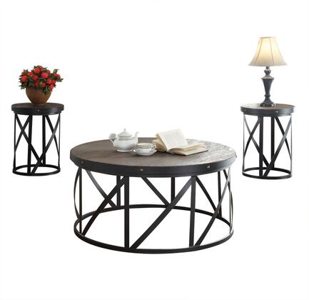Giona Collection 81440 3 PC Living Room Table Set with Round Drum Shape  Solid Pine Wood Top and Metal Tube Base in Dark Oak and Antique Black